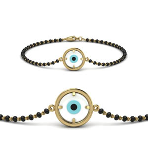 Gold Circle Evil Eye Bracelet Mangalsutra