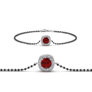 Ruby Bracelet Mangalsutra With Black Beads