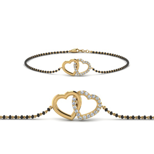 Interlocked Heart Design Mangalsutra Bracelet
