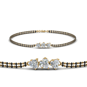 3 Heart Shaped Diamond Mangalsutra Bracelet