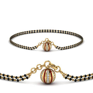 Traditional Ball Diamond Mangalsutra Bracelet