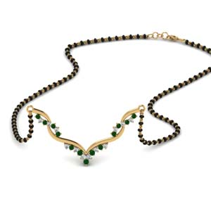 Twisted Gold Mangalsutra With Emerald
