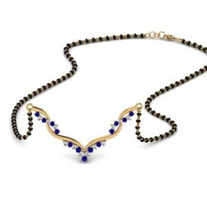Twisted Sapphire Mangalsutra With Chain