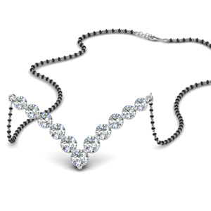 Graduated V Shaped Diamond Mangalsutra