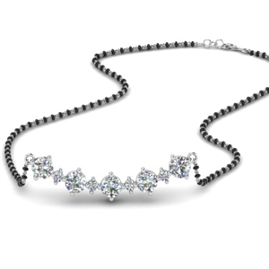 curved diamond mangalsutra necklace in MGS8707 NL WG