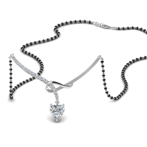 Heart Diamond Drop Pendant Mangalsutra