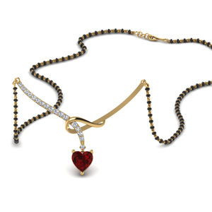 Heart Shaped Ruby Drop Mangalsutra