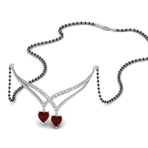 Ruby Heart Mangalsutra With Beads