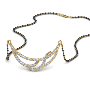 Gold Mangalsutra With Small Diamonds