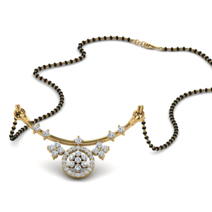 Flower Curved Diamond Mangalsutra