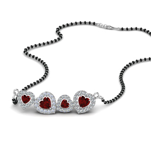Ruby Heart Halo Mangalsutra