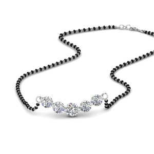 5 Diamonds Curved Mangalsutra