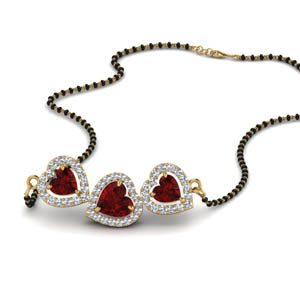Trio Halo Ruby Mangalsutra Chain