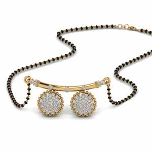 Cluster Diamond Mangalsutra With Wati