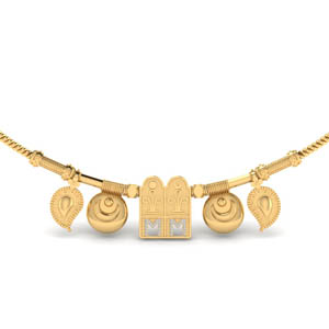 tulsi thali chain mangalyam set with diamond in MGS8951ANGLE1 NL YG