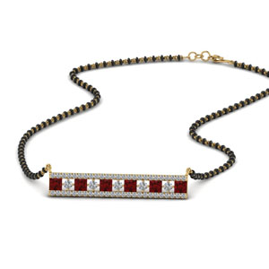3 Row Bar Ruby Mangalsutra Pendant