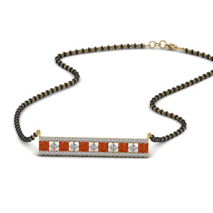 3 Row Bar Orange Sapphire Mangalsutra Pendant