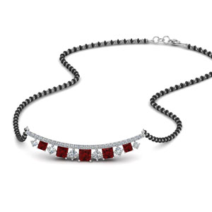 Curved Bar Ruby Mangalsutra
