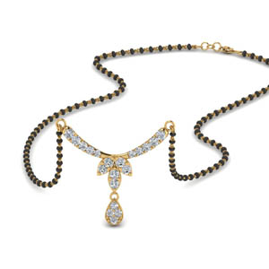 Flower Drop Diamond Mangalsutra Necklace