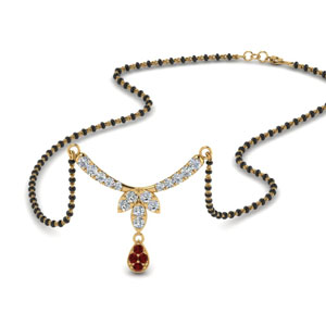 Floral Drop Ruby Mangalsutra Necklace