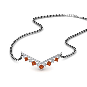 V Shaped Bar Orange Sapphire Mangalsutra