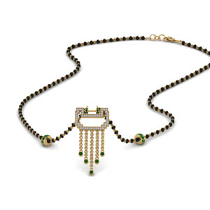 Emerald Pendant Mangalsutra For Bride