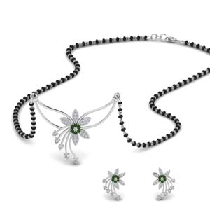 flower-design-diamond-mangalsutra-and-earring-set-with-emerald-in-MGS9073GEMGR-NL-WG