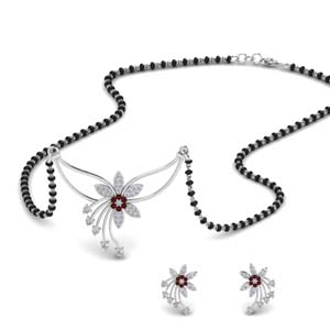 Ruby Flower Mangalsutra & Earring