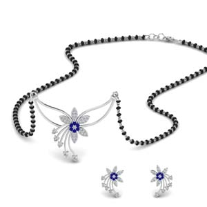 flower-design-diamond-mangalsutra-and-earring-set-with-sapphire-in-MGS9073GSABL-NL-WG
