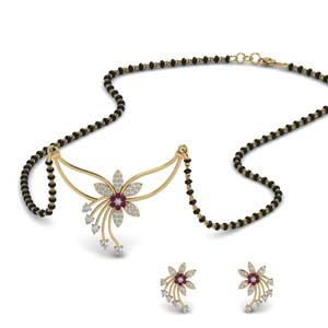 Flower Design Mangalsutra With Earring Set