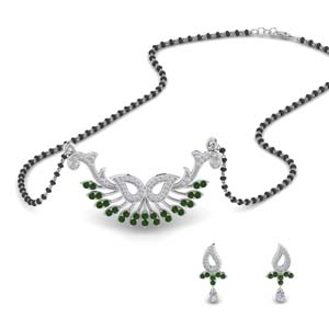 Beautiful Emerald Mangalsutra Earring Set