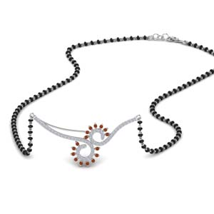Orange Sapphire Beautiful Black Beads Mangalsutra Chain