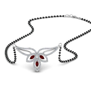 Ruby Petal Mangalsutra Necklace