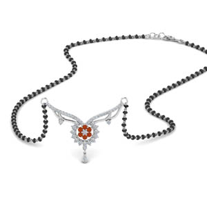 Beautiful Bead Orange Sapphire Mangalsutra