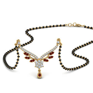 Beautiful Ruby Gemstone Drop Mangalsutra