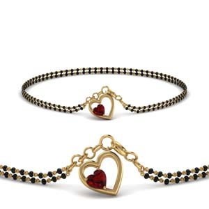 Ruby Heart Drop Mangalsutra Bracelet