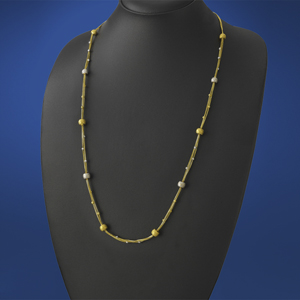 Long Gold Chain Ball Necklace
