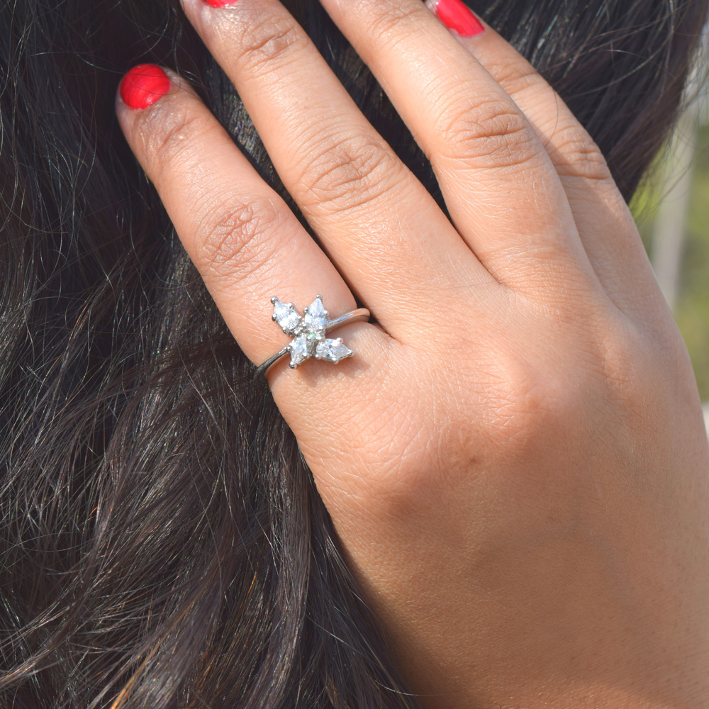 Cluster Pear Diamond Ring