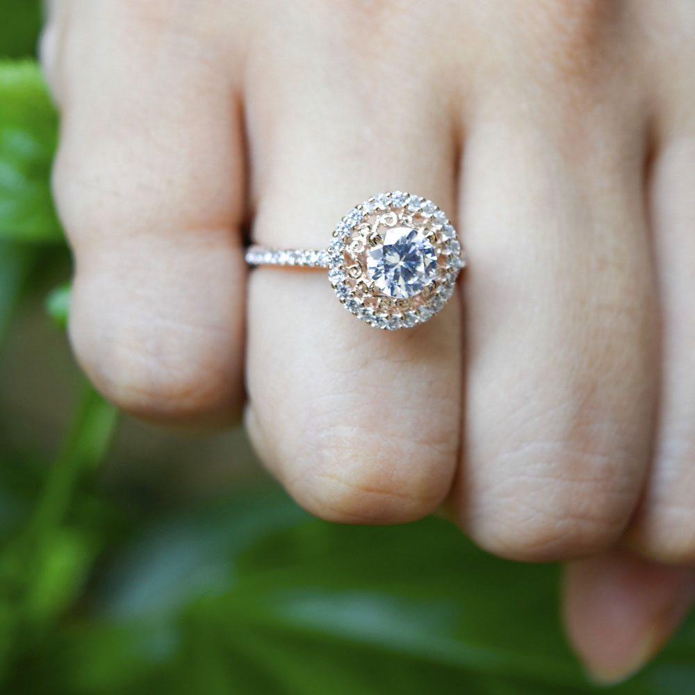 Filigree Halo Diamond Ring