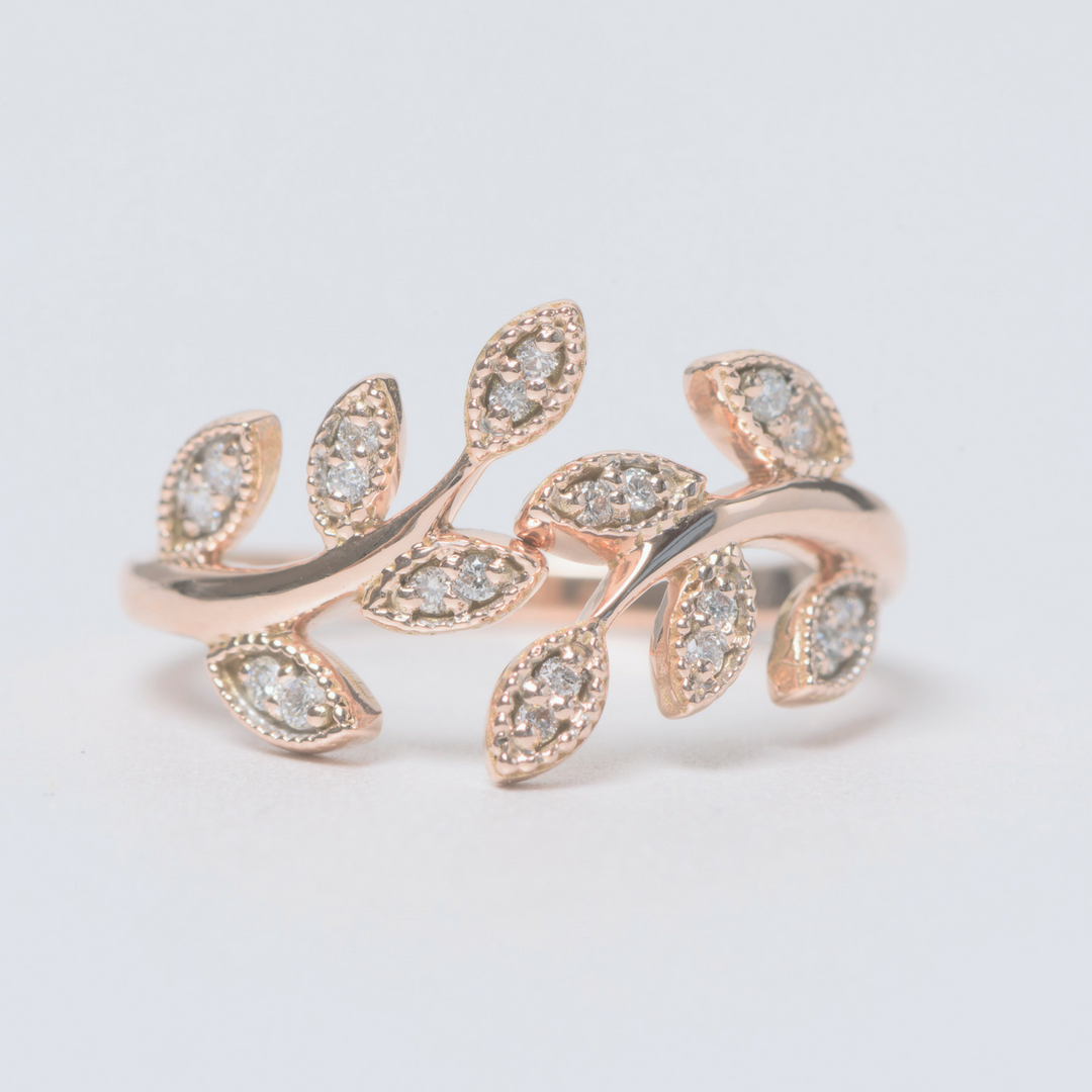 Leaf Diamond Open Ring